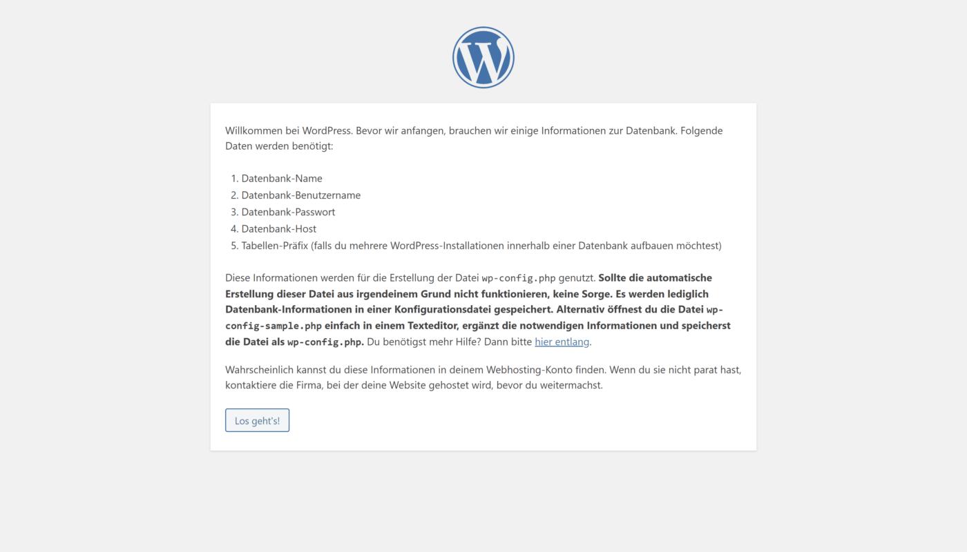 Wordpress Einrichtung Schritt 1