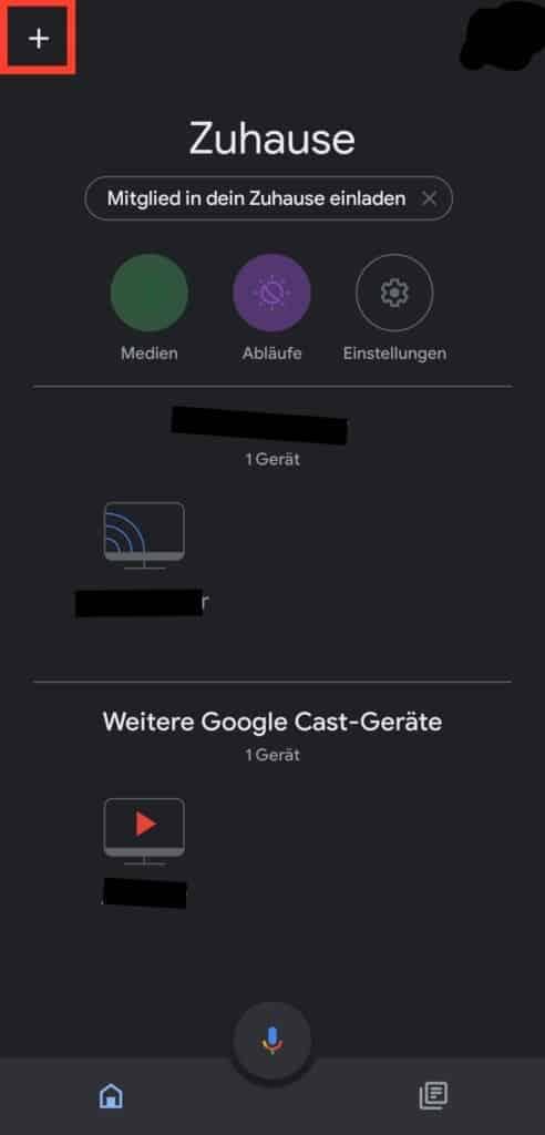 Startseite der Google Home App