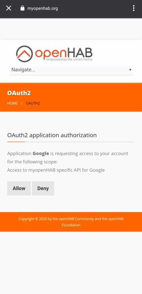 Google Zugriff auf openHAB erteilen
