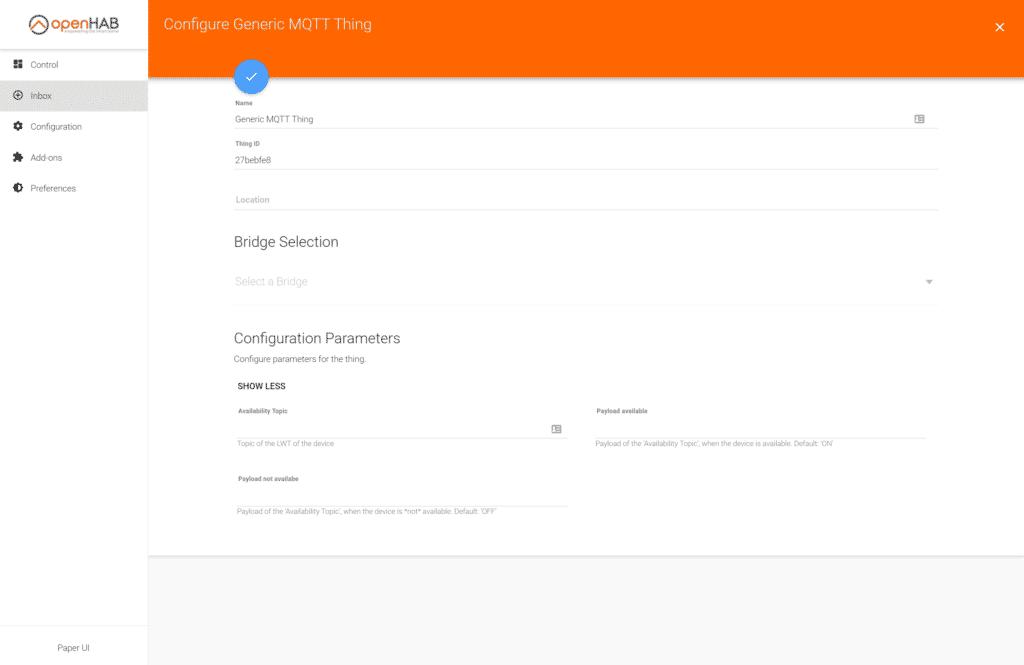 MQTT Thing hinzufügen in Paper UI