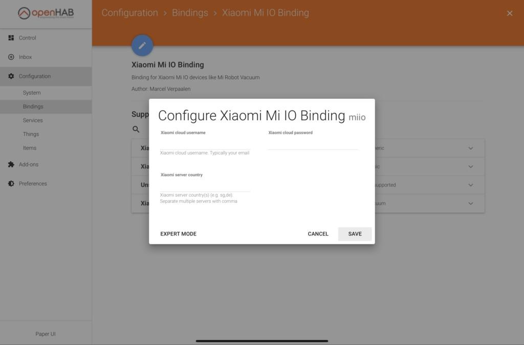 Mi IO Binding konfigurieren